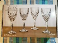 Dublin Crystal Wine Water Goblets Glasses 9 oz Godinger Shannon Set of 4 - NEW