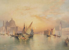1898 Thomas Moran color lithograph: The Grand Canal, Venice