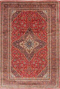 Excellent Vintage Ardakan Oriental Floral Area Rug RED Wool Hand-Knotted 10'x14'
