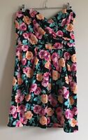 New Look Size 12 Ladies Black Strapless Dress With Multicoloured Floral Print