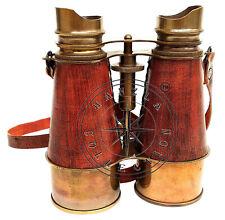 "6"" Vintage Maritime Leather & Brass Binocular~Antique Pirate Spyglass Telescope"
