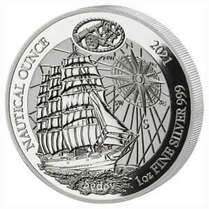 Ruanda 50 Francs 1 oz Silber Nautical Ounce Sedov 2021 PP - Spiegelglanz