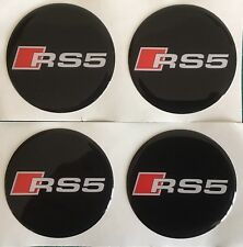 AUDI RS5 ALLOY WHEEL CENTRE CAP STICKERS DOMED RESIN 45mm X4