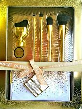NWT Olivia Grace 24k Gold Makeup Brush Collection 5 Brushes with Cosmetics Bag