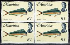 Mauritius 1969/73 Definitive Fish 1r block of 4 with inverted watermark