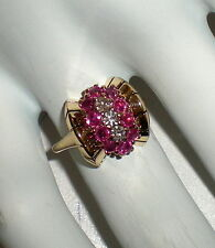 VINTAGE 14k YELLOW GOLD RUBY / DIAMOND RING - 5.3 g - Sz 5.5 - VSI - G  - (#B)