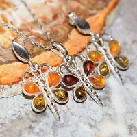 Lovely Multi Baltic Amber Butterfly 925 Silver Stud Earrings Pendant SET