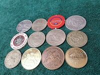 Lot: 12 Large Coins Tokens Casino Medals, also Silver, Pearl Harbor, Dollars