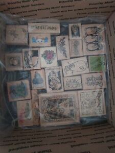 Lot of 25 Wood Mounted  Rubber Stamps Christmas ❤ BEAUTIFUL COLLECTION ❤