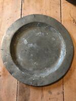 Interesting Early Antique Pewter Plate Film Prop