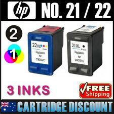 3 Ink Set 2B1C for HP 21XL 22XL F4185 Officejet 4355 PSC1401 PSC1402 PSC1403