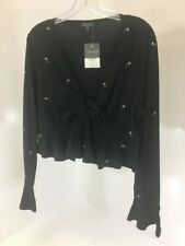 TOPSHOP WOMEN'S EMBROIDERED FLORAL CROP TOP BLACK UK18/US14 NWT $48
