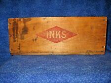 Fountain Pen Inks Vintage Wood Advertising Box Cir. Art Deco Period 1920s
