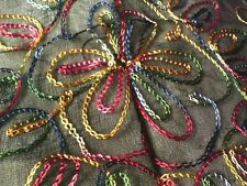 """INDIAN SHEER VISCOSED MULTI-COLOURED EMBROIDERED FRINGED SHAWL42""""x 42"""" £7.95 NWT"""