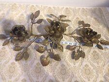 MCM Vintage brass Roses candle holder flower leaf Candlelabra table center piece