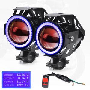 2x U7 125W LED Motorcycle Headlight Blue Angel Devil Eyes Fog Spot Lamp Driving