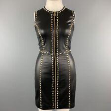 VERSUS VERSACE Size 8 Black Leather Gold Studded Sleeveless Sheath Dress