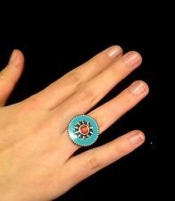Ring Big Chunky Turquoise Red Adjustable Hippie Bohemian Tribal Gypsy R1012
