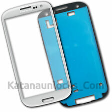 Vitre écran Samsung Galaxy S3 SIII i9300 Blanc avec Adhésif Front Glass