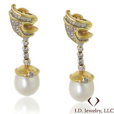 0.74CTW Round & Baguette Diamond & Pearl Earrings 18K Yellow Gold