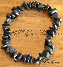 Tumbled Gemstone Crystal Chip Stone Black Obsidian Strechy Bracelet Scorpio
