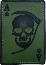 PVC Abzeichen DEATH ACE - Gummi Patch mit Klett Abzeichen - oliv schwarz - Ass