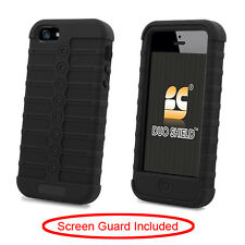 For Apple iPhone 5 Rubber IMPACT Duo Shield Hard Case Phone Cover Blac
