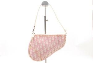 【Rank B】Vintage Christian Dior Trotter Saddle Hand bag Pouch PVC Pink JAPAN A044