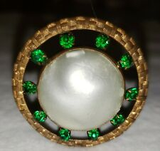 Antique victorian Hat Pin  green stones.  Very nice  10 inch