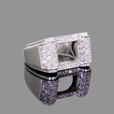 Mount Scroll Ring Size 8.75 Estate Vintage Mens Fancy Platinum & Diamond Semi