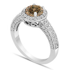 Platinum Champagne Brown Diamond Engagement Ring 1.53 Carat Pave Bridal