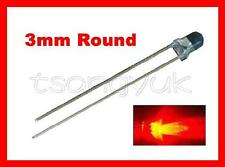 50 Red 3mm Round LED Free Resistors