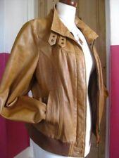 Ladies NEXT tan real leather JACKET COAT size UK 16 14 biker bomber cafe racer