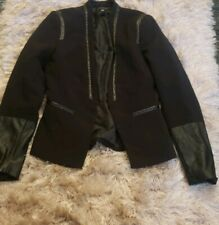 H&M Black partially leather Blazer Jacket sz 4. Pre-owned