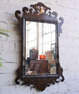 Antique Victorian Georgian Regency Style Fretwork Gilt Ho Ho Bird Wall Mirror
