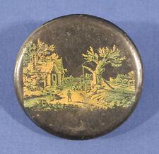 Vintage Antique Black Round Paper Mache Lacquer Snuff Box Early Farm Scene