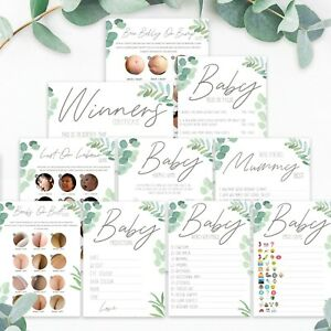 BABY SHOWER GAMES-Botanical Boho Unisex Favours Predictions Who Knows Mummy Best