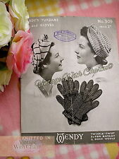 Vintage 1940s Knitting Pattern 2 Styles Of Lady's Turban & Cosy Pair Of Gloves