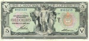 Canada $5 Dollars Canadian Bank Commerce Banknote 1917 VF