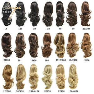 US Synthetic Jaw Claw Ponytail Clip In Pony Tail Hair Extension Wavy Hair Piece