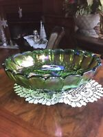 Oval centerpiece bowl Indiana carnival glass green iridescent fruit Design