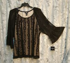 BOHO BLACK SOFT ALL OVER LACE BEIGE LINED BODICE BELL SLEEVE BLOUSE TOP~2X~NEW