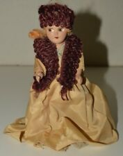 """Vintage Composition 7"""" Blonde Doll Evening Gown w/ Shall & Pillbox Hat Rare"""