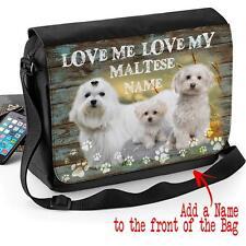 Personalizzata MALTESE Razza Cane Cucciolo Shoulder Messenger Bag REGALO