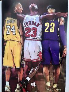 Kobe Bryant , Michael Jordon , Lebron James Poster 24 X 36