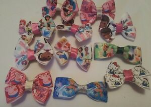 2 piece (1 pair) Girls Hair Clips Disney and Kids favorite Characters Hand Made