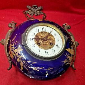 1895 Fench Signed Cobalt Blue Porcelain Hanging Chain Clock
