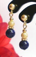 Lapis Lazuli  Ohrstecker 6 mm Kugeln  diamantiert  925 Silber 24 Kt vergoldet
