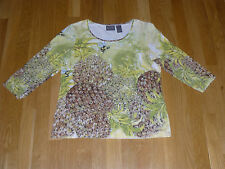 Woman's CHICOS Additions STRETCH T SHIRT TOP PINEAPPLES BEES SIZE 0 SMALL EX CON
