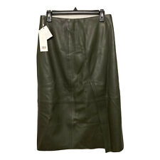 VINCE Slit Leather Skirt Forest Green Size 4